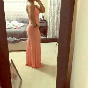 Coral pink and white maxi dress